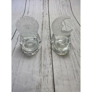 Glass clear frosted Sun Moon Tealight Celestial